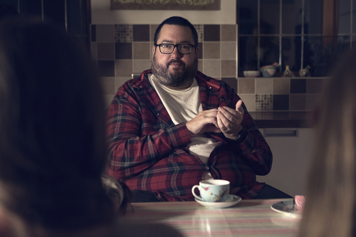 Ewen enjoying a cuppa with his victims