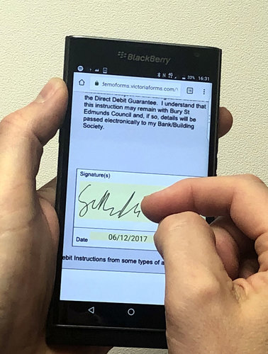 Signing direct debit form on smartphone