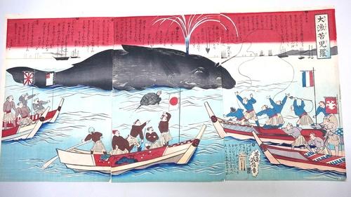 A whale blows