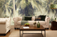 Tropical mural living space with sofa
