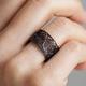 Black Single Filigree Links Ring