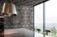 pearlescent wallpaper wrapped kitchen