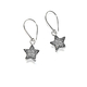 Silver and Diamond Glitter Star Earrings