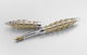 Silver, gold and gemset pen by Jack Row