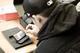 Student using handset provided b